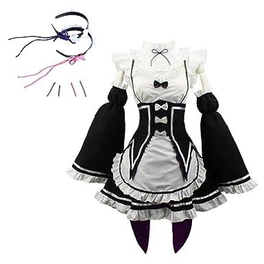 9001c060054dd Amazon.com: TOKYO-T RE Zero Rem RAM Cosplay Maid Costume Headwear ...