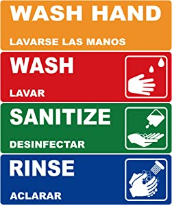 Wash, Rinse, Handwash Sink Labels, Heavy Duty Waterproof Sticker Signs for 3 Compartment Sink, Restaurants, Commercial Kitchens, Food Trucks, Dishwashing or Wash Station, 2.6