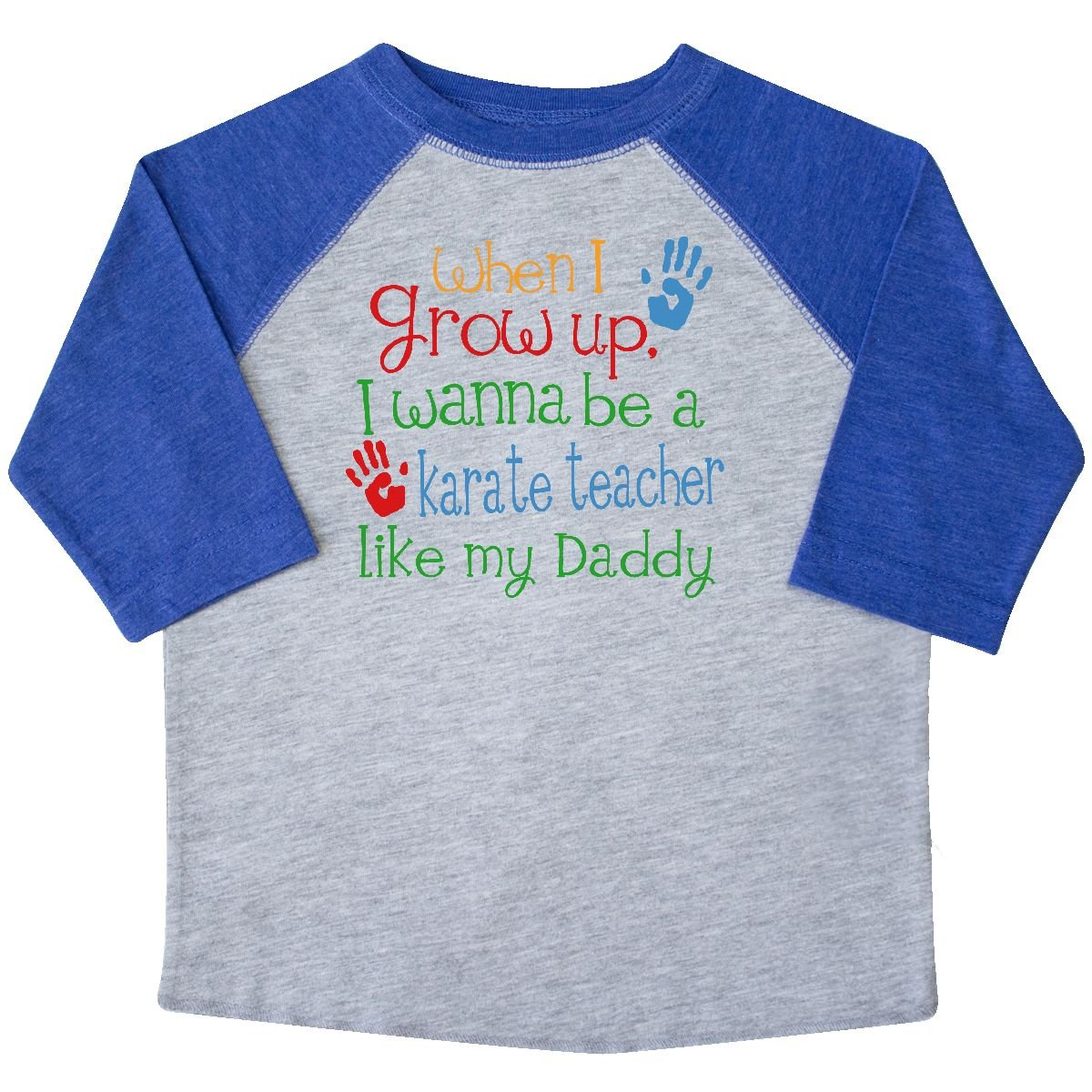 inktastic Karate Teacher Like Daddy Toddler T-Shirt 4T Heather and Royal