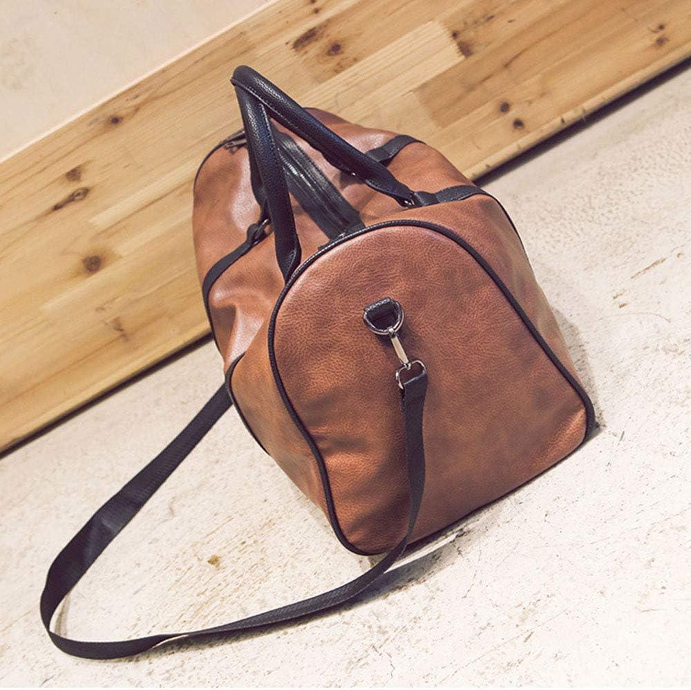 45 X 21 X 25cm XFRJYKJ-Travel handbag Pu Leather Travel Bag Men and Women Large Capacity Casual Simple Luggage Travel Single Shoulder Diagonal Package