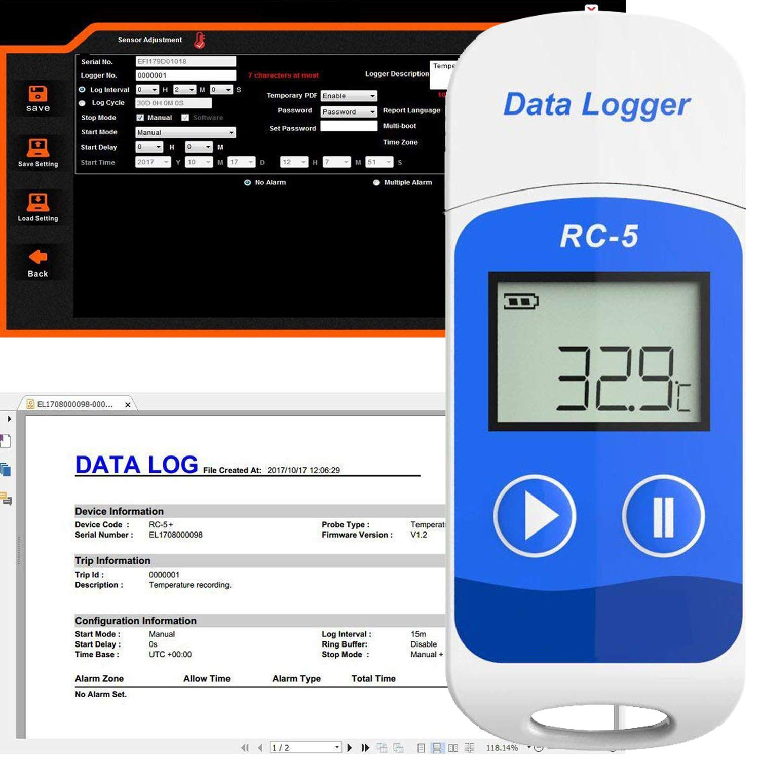 Registrador de Datos de Temperatura USB RC-5 32000 Puntos Software ...