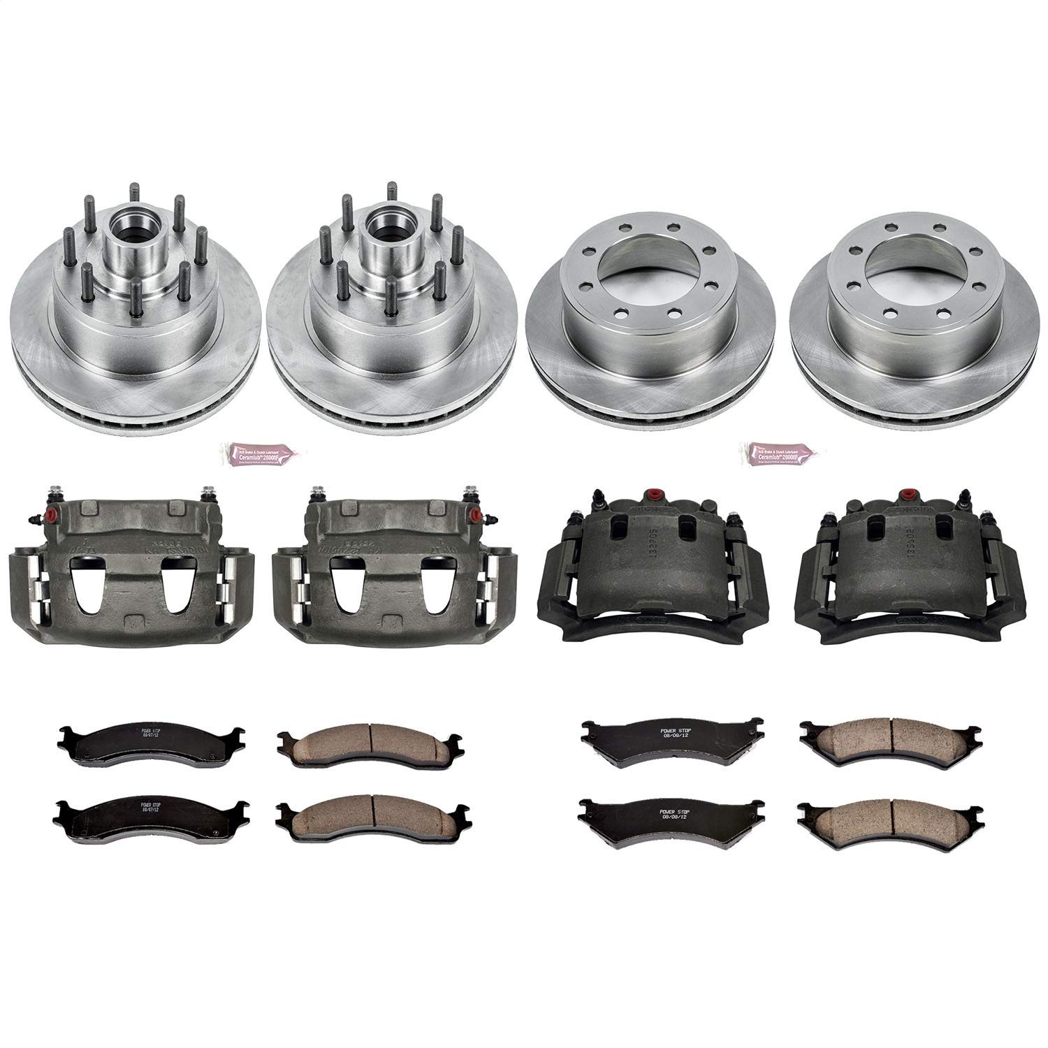 Power Stop KCOE4434 Front and Rear Stock Replacement Brake Kit with Calipers