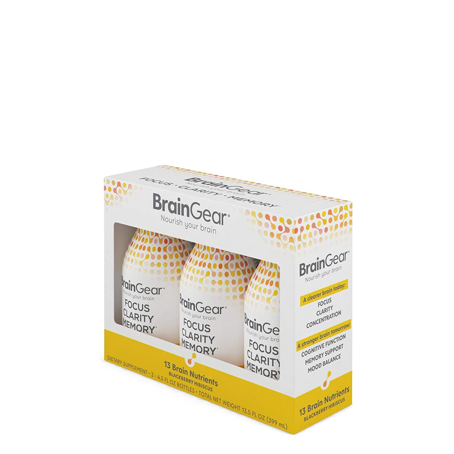 BrainGear Nootropic Brain Booster Shot, Drink Supplement, Lifts Brain Fog,  Improves Focus, Clarity,
