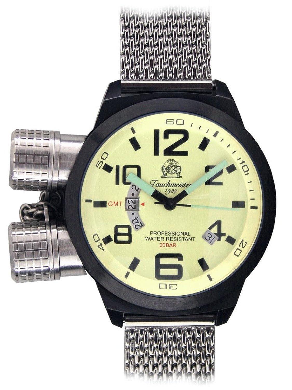 XL-Retro Taucher Uhr - Milanaise Edelstahl Band GMT-Anzeige T0201MIL