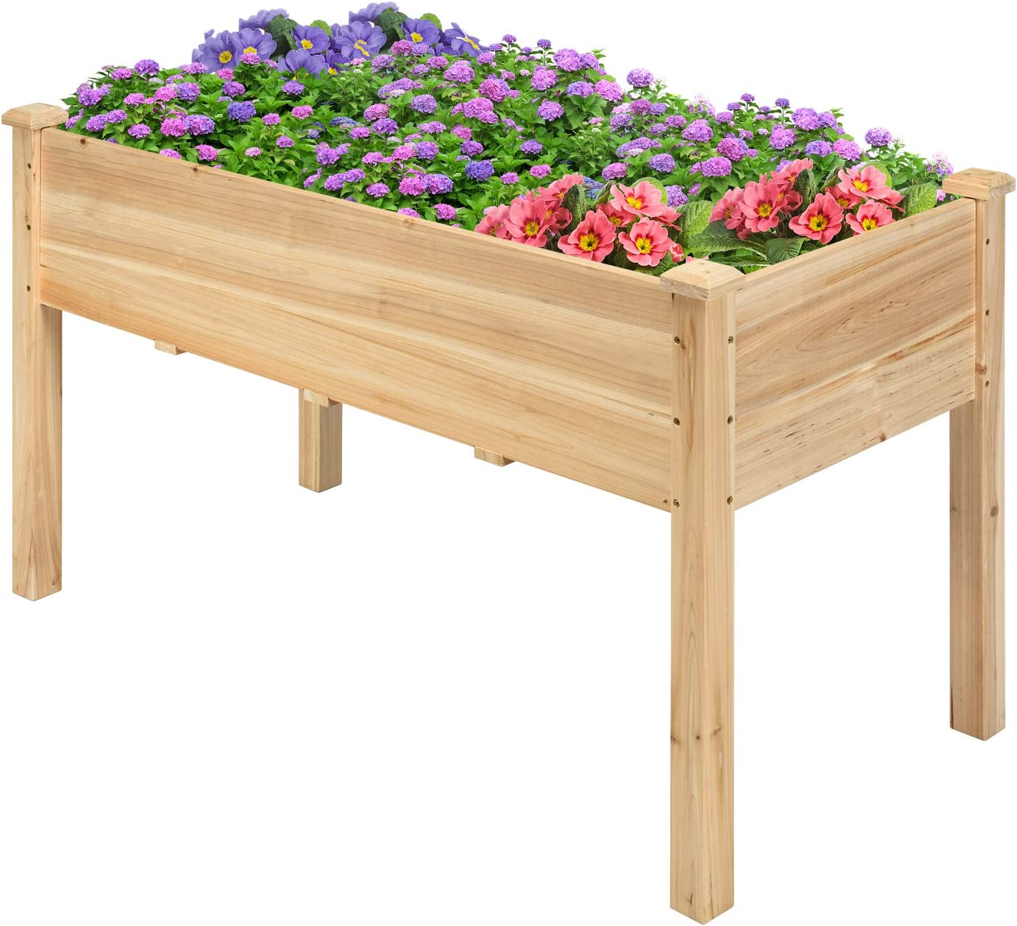 """Safstar Raised Garden Bed, Elevated Wooden Planter Box, 49""""L x 23""""W x 30""""H, Outdoor Gardening Planting Bed for Vegetables, Flowers & Herbs Grow, Great for Backyard, Patio, Lawn"""