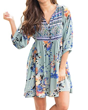 3fe7cd66ff1 Kathemoi Womens Boho Beach Dresses Floral Tribal Print V Neck Summer Mini  Dress