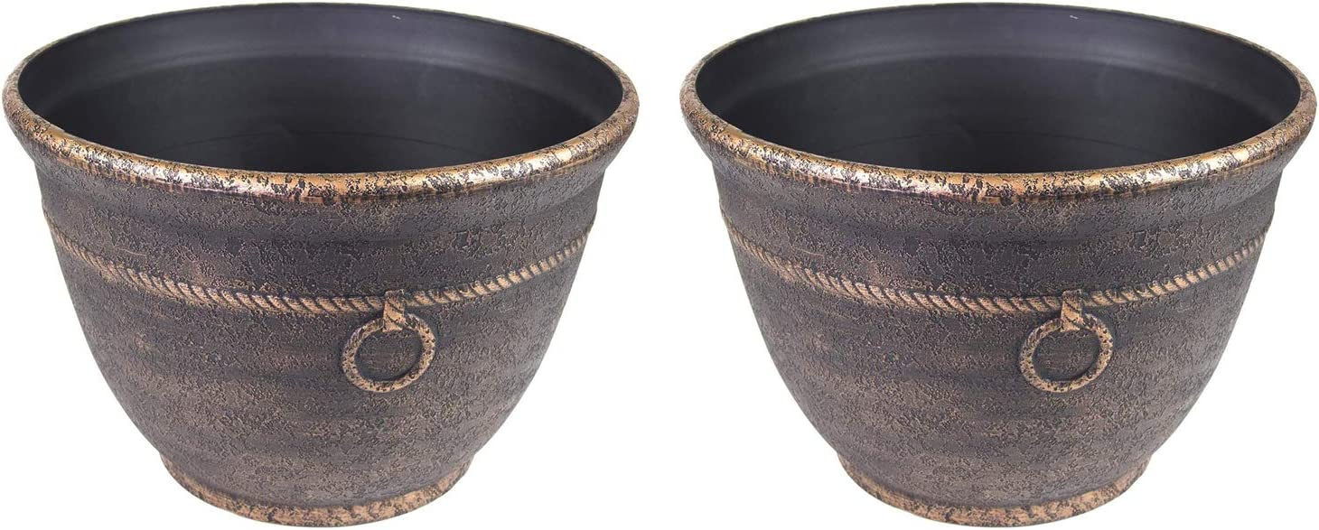 Liberty Garden 1925 Banded High Density Resin Outdoor Garden Hose Pot with Drainage, Antique Bronze (2 Pack)