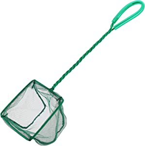 Pawfly 4 Inch Aquarium Net Fine Mesh Small Fish Catch Nets with Plastic Handle - Green