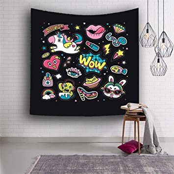 Tapisserie Tenture Simple Et Cute Cartoon Motif Licorne Art