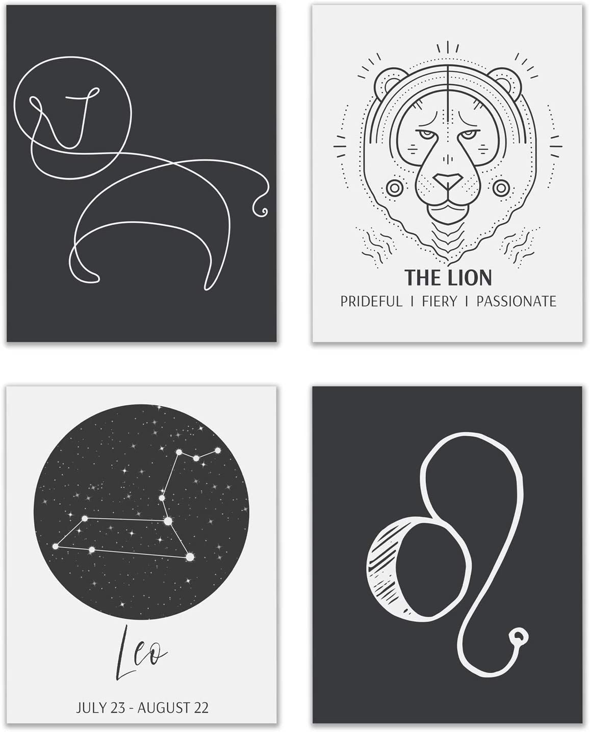 Leo Astrological Sign Prints - Set of 4 (8x10 Inches) Zodiac Constellation Horoscope Star Sign Four Elements Wall Art Decor - The Lion - Fire - Fixed - Sun
