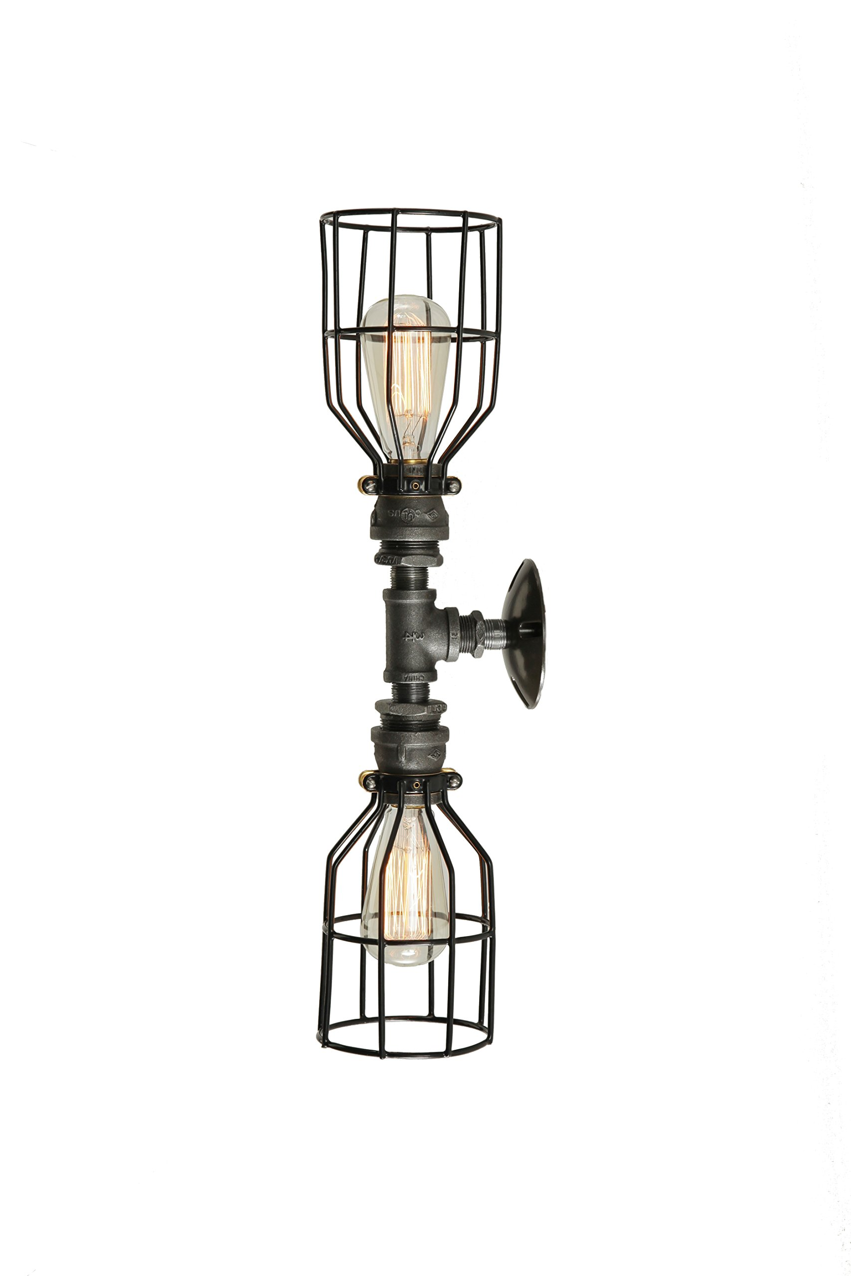 West Ninth Vintage Iron Pipe Double Vanity and or Ceiling Light With Cages