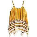 F_topbu Clearance Women Tank Crop Tops Teen Girls Printed Fringed Sleeveless Blouse Cami Shirt Camisoles