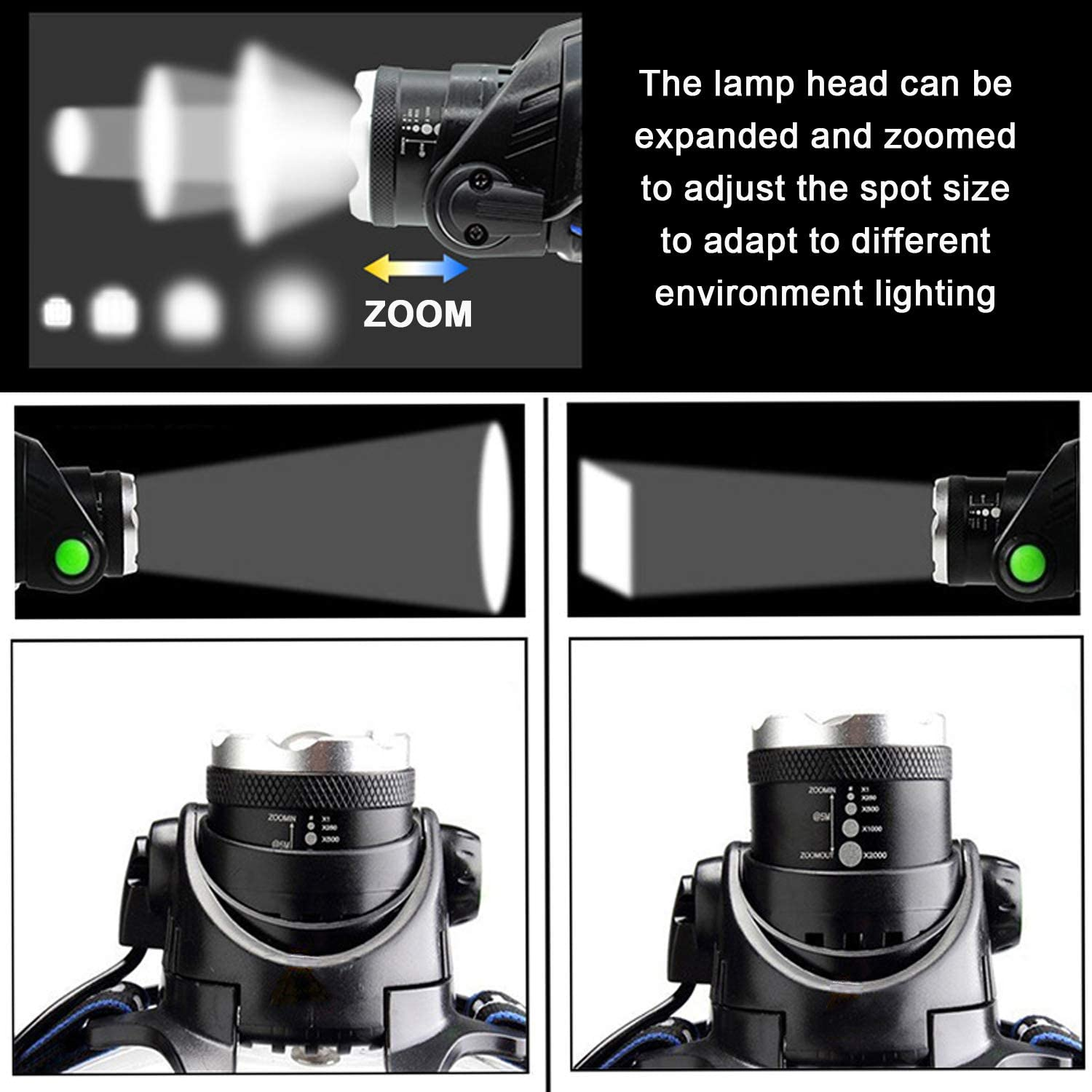 Emergency Light Outdoors 1Pcs+6Pcs Battery Running CASTNOO Headlamp,T6 LED Super Bright USB Rechargeable Zoomable Waterproof Headlamp with 3 Modes Light Best for Camping