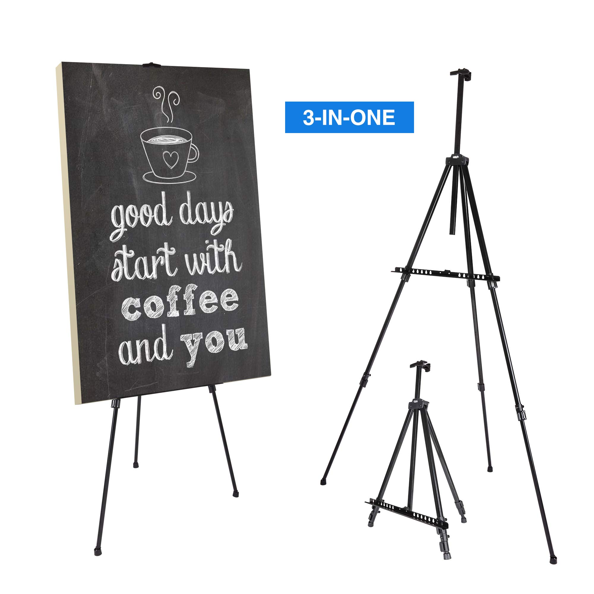 Artify 73'' Double Tier Easel Stand, Aluminum Tripod for Painting and Display with an Environmental Friendly Carrying Bag and Spare Parts
