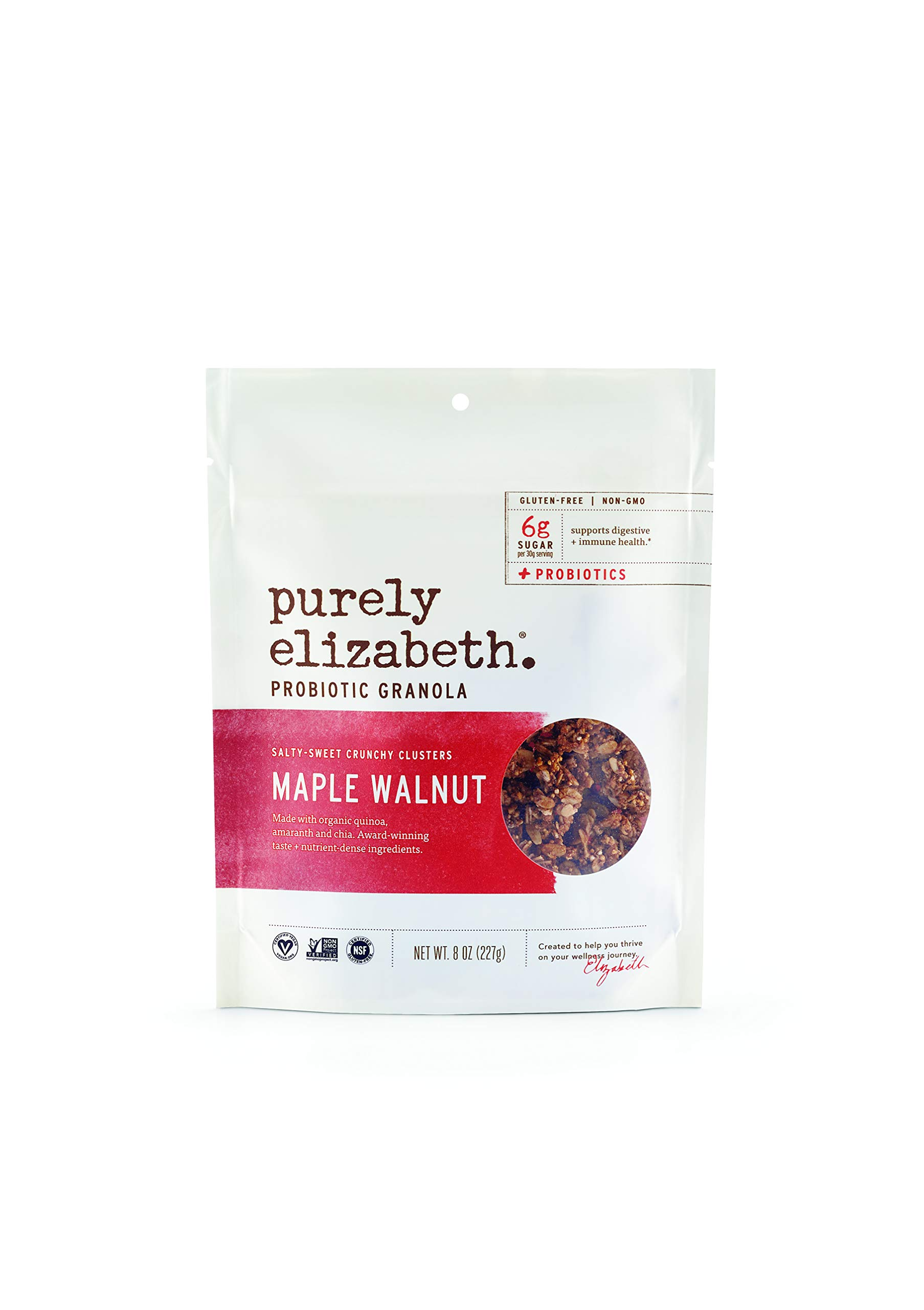 Purely Elizabeth Probiotic Granola, Certified Gluten-Free, Organic & Vegan | Probiotic-Infused Healthy Snack | Nutrient-Packed - Maple Walnut - 8oz
