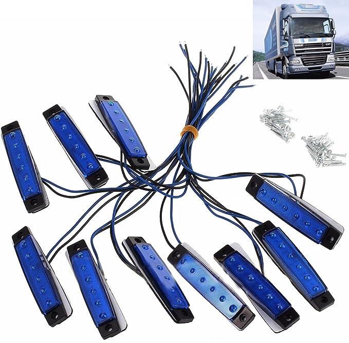 Polarlander 10pcs 24v 6led Seitenmarkierungsanzeiger Lichter Lampe Für Auto Lkw Anhänger Lkw 6 Led Bernstein Clearence Bus Wasserdicht Blau Auto