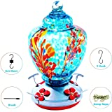 Upgraded Hummingbird Feeder for Outdoors, Glass Bird Feeders Easy to Clean&Filling,Brand Bird Feeder Best with Color…