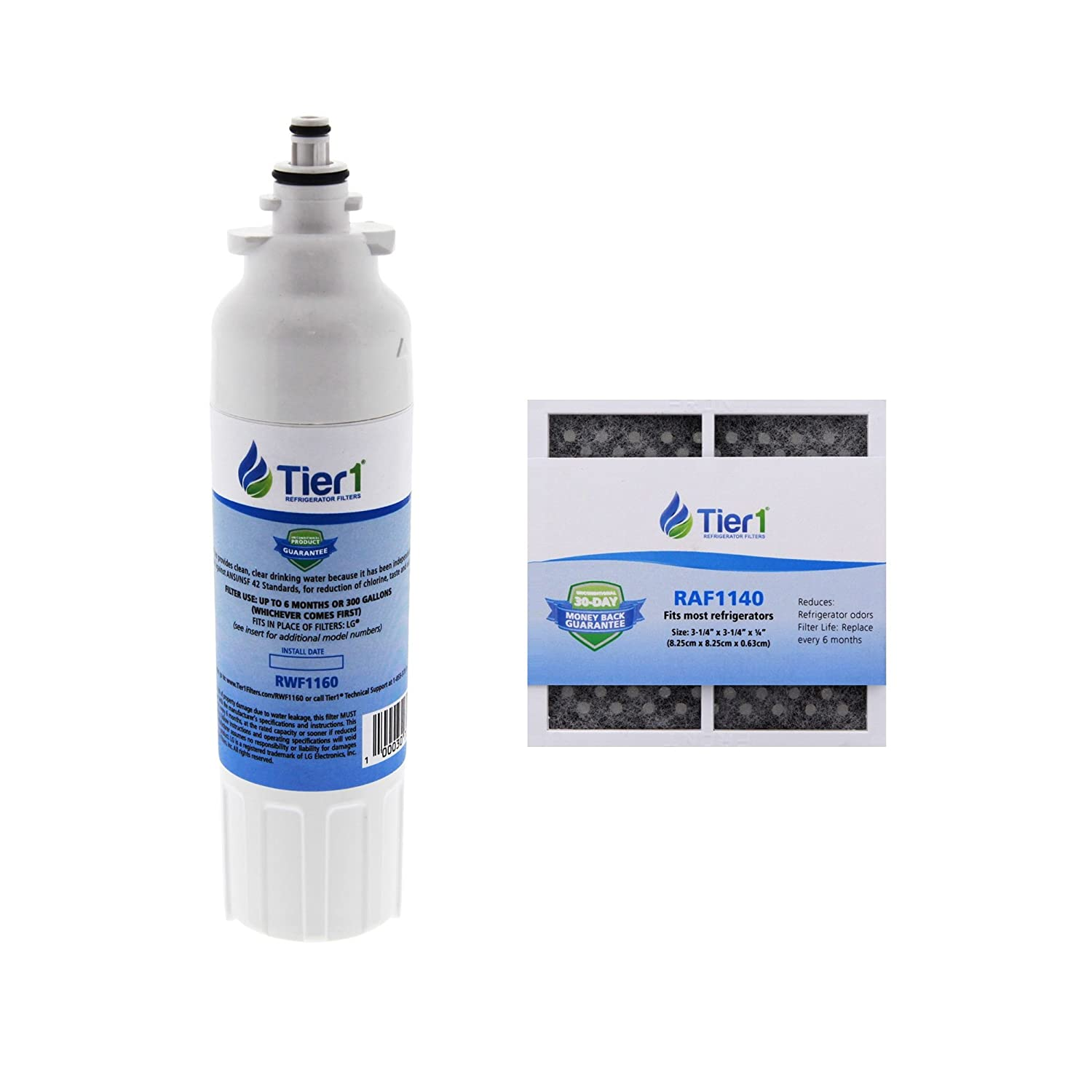 Tier1 Replacement for LG LT800P LT120F Comparable Refrigerator Water Filter and Air Filter Combo