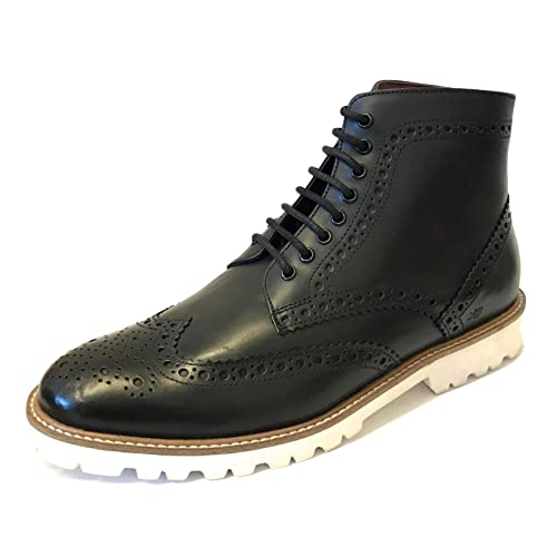ced52f1c816a London Brogues Mens Gents Classic Brogue Chelsea Ankle Combat Military Boots  Real Leather Suede Smart Formal Work Shoes Sole Size 7 8 9 10 11 12 (10 UK