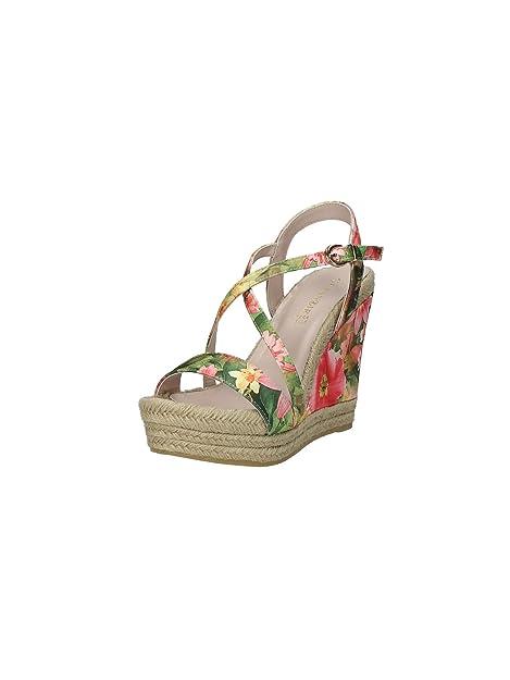 sale retailer 4128a 9bebe Cafènoir HA014 scarpe donna sandali zeppe alte multicolor fiori arancio