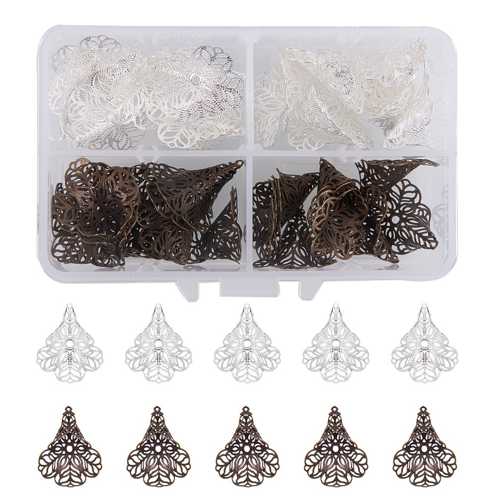 PandaHall Elite About 60 Pcs Brass Flower Petal Filigree Bead Caps 6 Styles for Jewelry Making Golden PH PandaHall