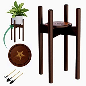 Mid Century Plant Stand Indoor with Coaster, 8 Anti Scratch Pads and 3 Tools | Adjustable Plant Stand fits 8 9 10 11 12Inch Pot | 16 Inch High | Flippable Planter Stands(Pot not Included) (Bronze)