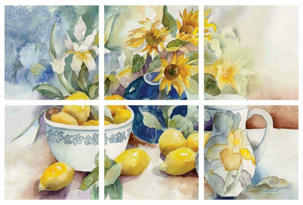 IdeaStix Lemon Table 6-Piece Mural Peel and Stick Décor