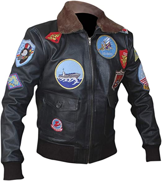 Mens Leather Jacket Top Gun Tom Cruise Peter Maverick Real Bomber Leather Jacket