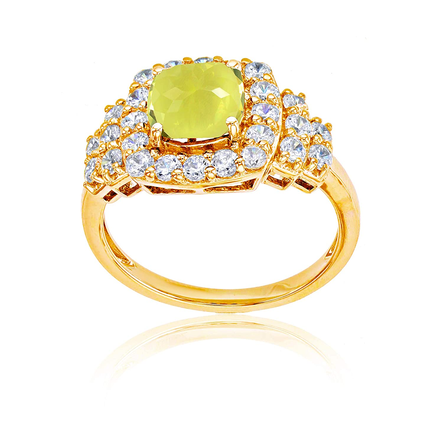 Sterling Silver Yellow 7mm Cushion Gemstone /& Round Created White Sapphire Ring