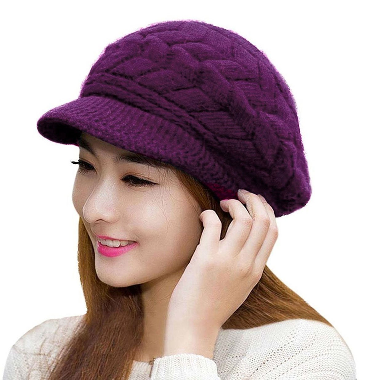2f8d48be9db041 Galleon - HindaWi Women Winter Hats Knit Crochet Fashions Snow Warm Cap  With Visor Purple