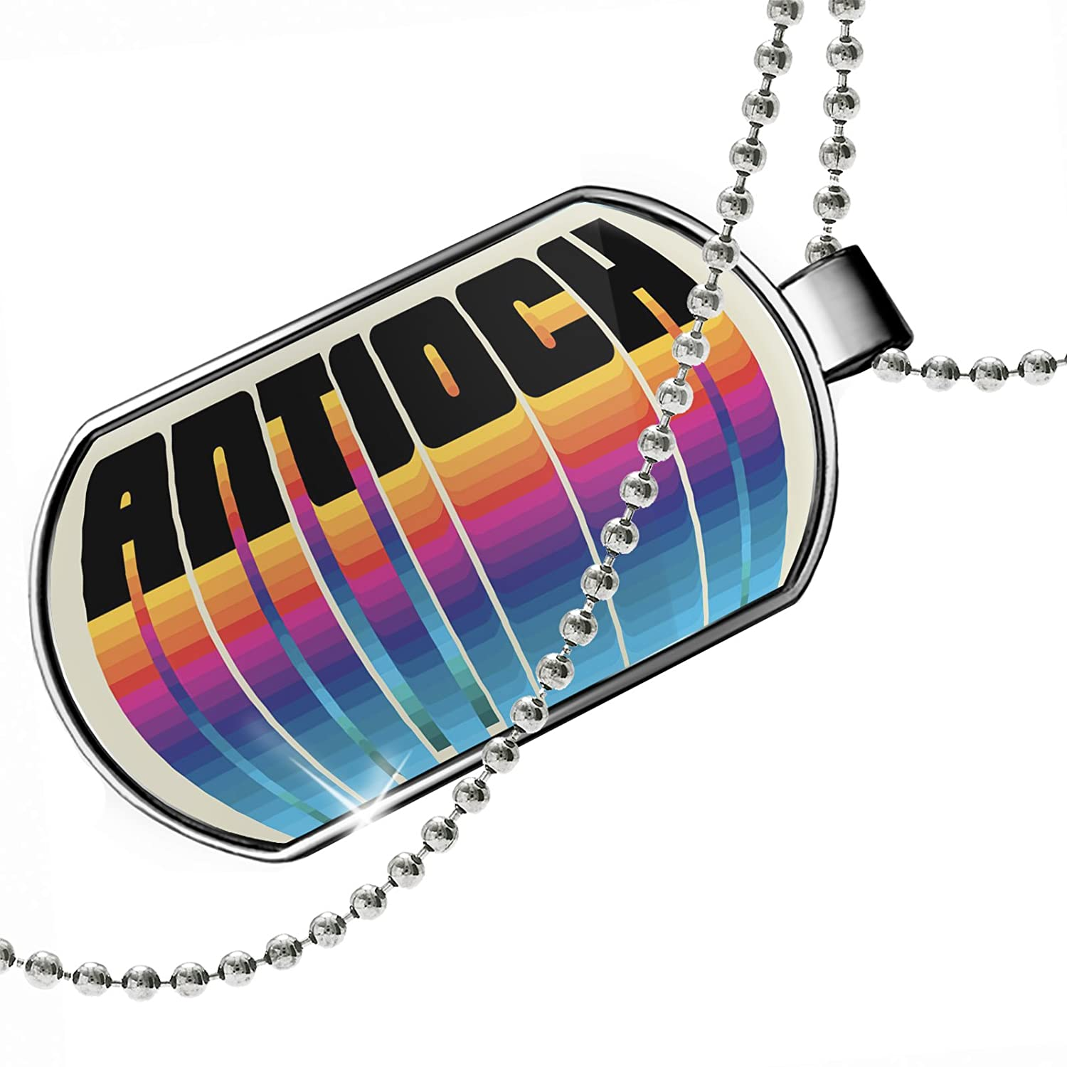 NEONBLOND Personalized Name Engraved Retro Cites States Countries Antioch Dogtag Necklace