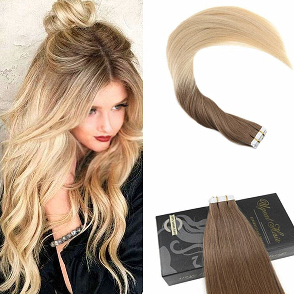 Amazon Ugeat 20inch Pu Tape In Hair Extensions Ombre Ash Brown
