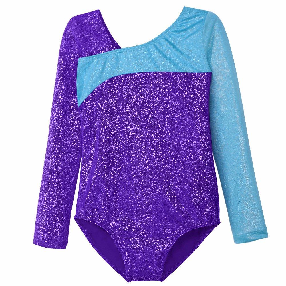 レオタード 女の子用 子供用 体操 バレエ ダンス 長袖 B077HVRNL4 Purple + Long Sleeve Large