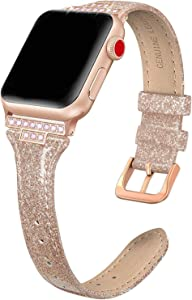 SWEES Genuine Leather Band Compatible with iWatch 38mm 40mm, Slim Thin Bling Diamond Strap Compatible with iWatch Series 6, 5, 4, 3, 2, 1, SE, Sport & Edition Women, Glistening Rose Gold