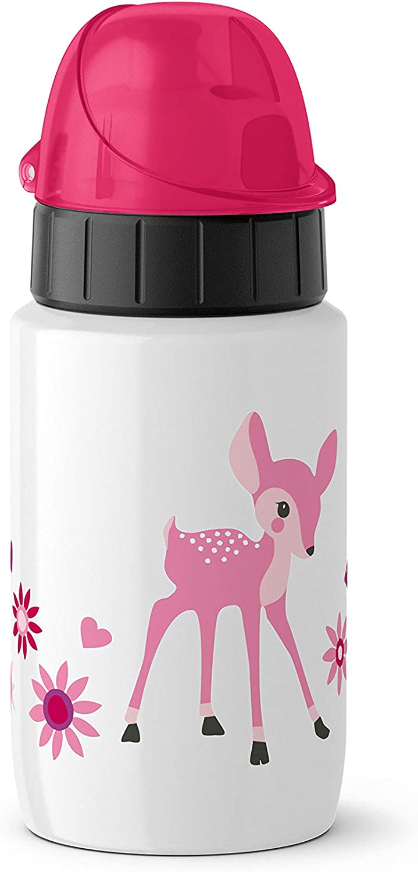 Emsa Light Steel 518358 - Botella de agua (acero inoxidable, 0,4 L, cierre automático), diseño de Little Deer