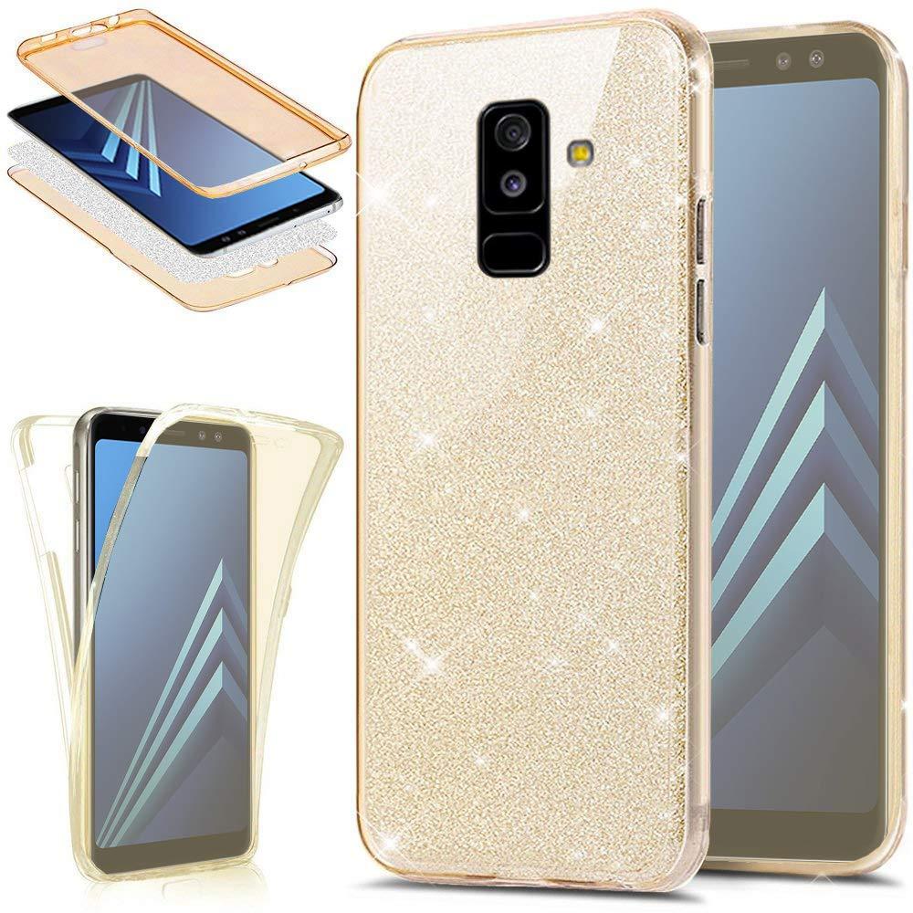 Silicona 360 Full-Body Frontal Carcasa para Samsung Galaxy J8 2018 Doble Cara Fina Funda para Samsung Galaxy J8 2018 Trasero EINFFHO