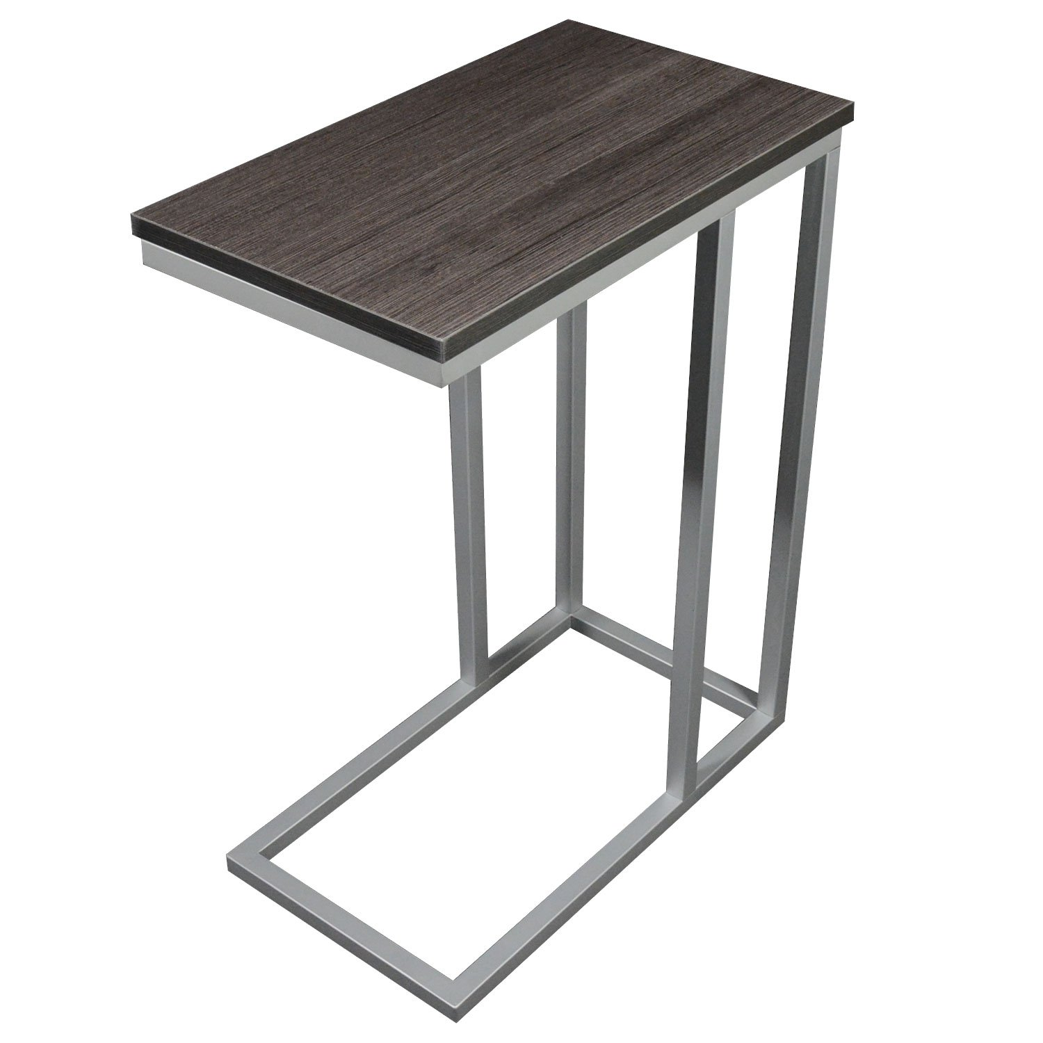 The Austin C Table/End Table/Laptop Stand, Zebra Wood Finish Laminate Top/Silver Base with Adjustable Glides by CKP
