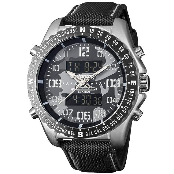 Infantería ® - diseño de camuflaje Digital reloj de pulsera cronógrafo alarma fecha analógico para hombre negro correa de nailon: Amazon.es: Relojes
