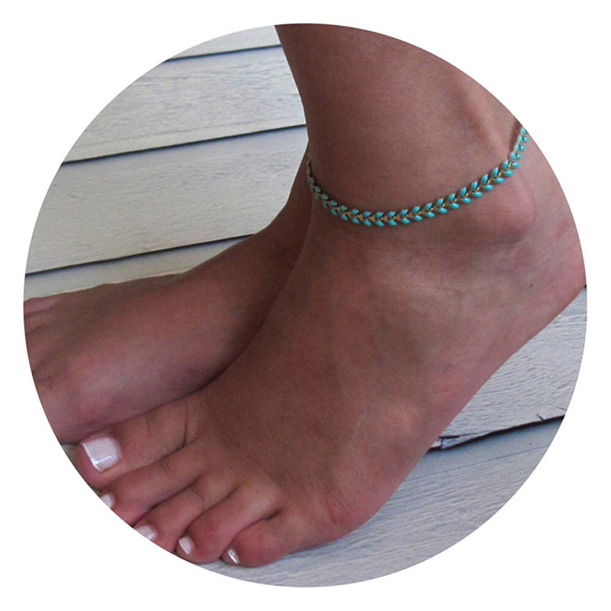 Befettly Womens girls Adjustable Double Layer Handmade Dainty Anklet 14K Gold Fill Boho Beach Foot Chain Warter Drop-4-Green