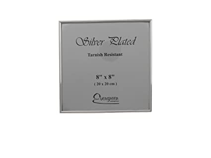 """Evergreen Thin Edge Single Photo Picture Frame 8x8/"""" inches Silver Plated 20x20cm"""