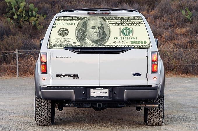 100 US Dollar Bill Car Rear Window Decal Sticker Car Truck SUV Van Money 170