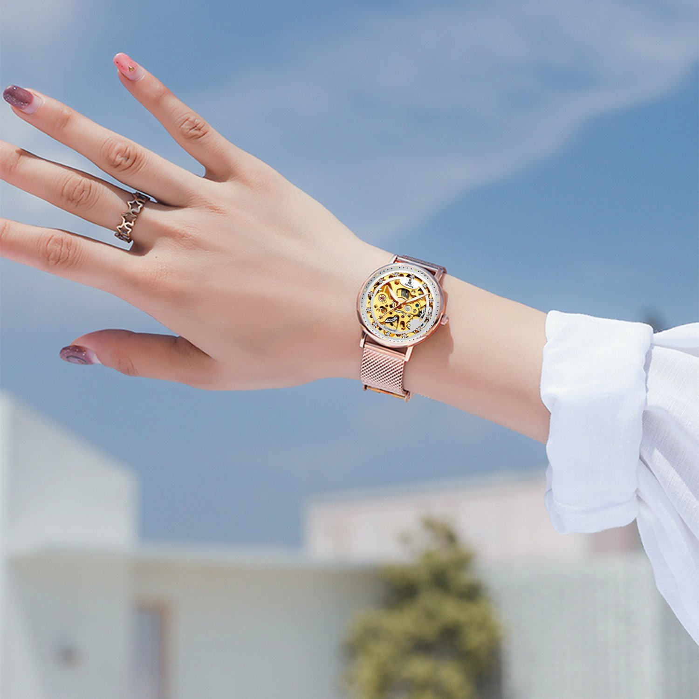 Womens Watch,Stone Automatic Dress Watch Luxury Skeleton Wrist Watch for Lady,Rose Gold Tone by Stone (Image #6)