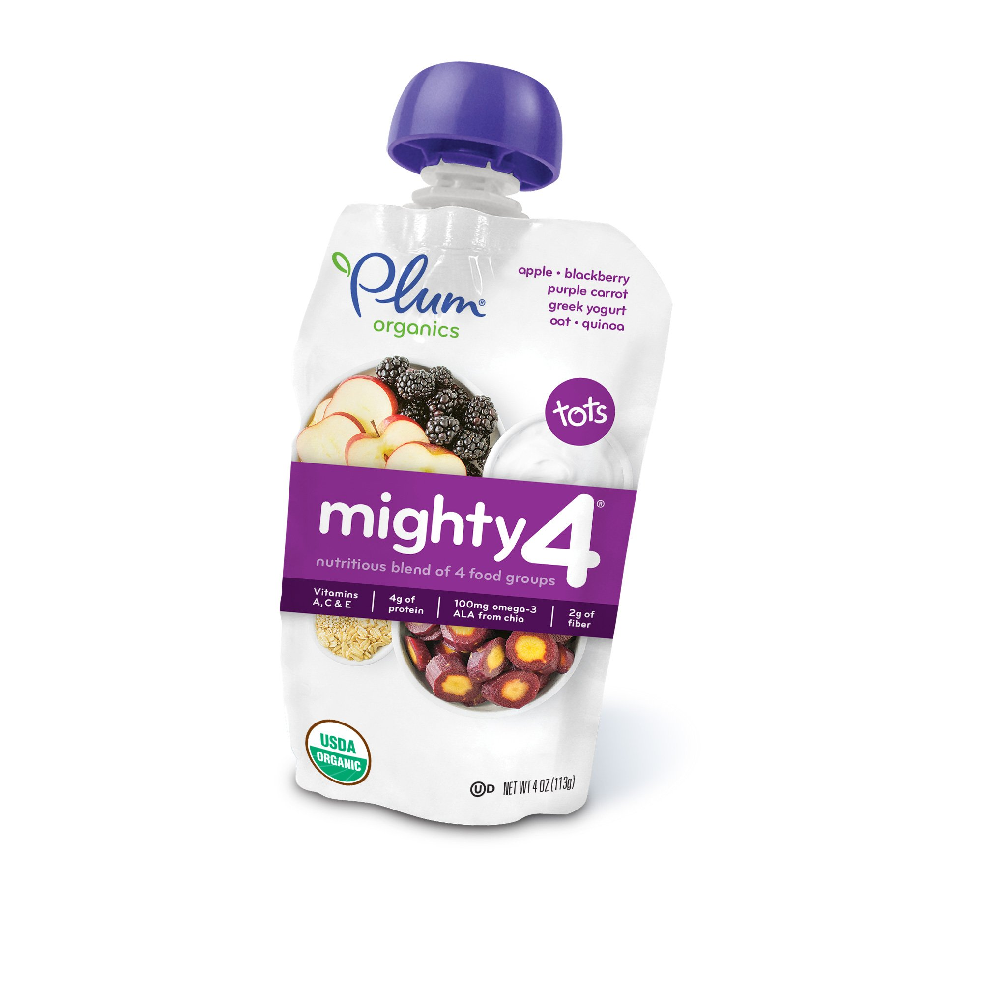 Plum Organics Mighty 4, Organic Toddler Food, Apple, Blackberry, Purple Carrot, Greek Yogurt, Oat and Quinoa,4 Ounce Pouch (Pack of 12)