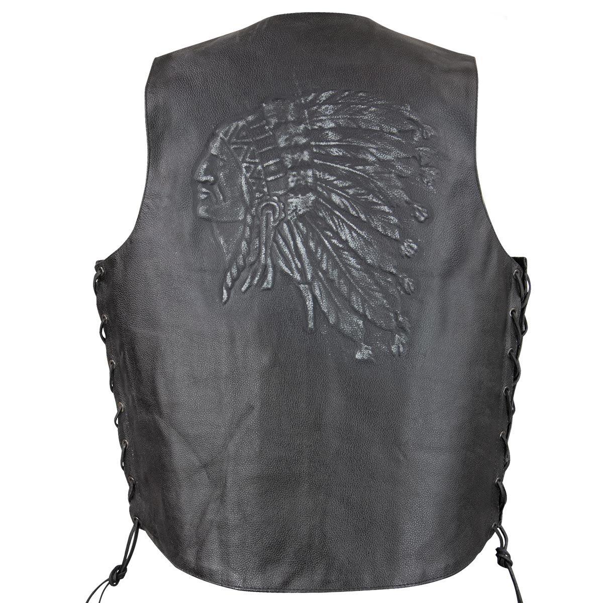 Xelement VE9730 Mens Black Embossed Indian Head Leather Motorcycle Vest - Medium