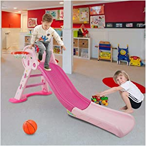 Toddler Climber and Slide | 3 in 1 Climber Slide Playset with Basketball Hoop, Indoor Outdoor Freestanding Climbing Set for Kids Ages 3 and Up (from US, Pink-1)