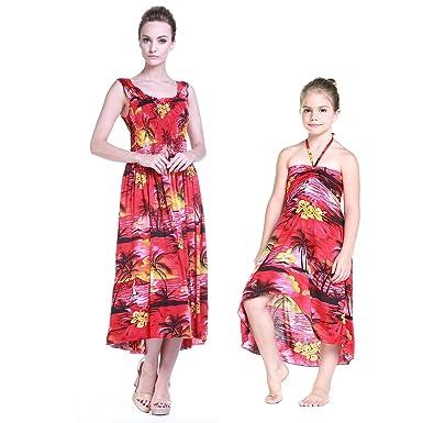 00fbcbf0bdf65 Mère et Fille Correspondant Hawaii Luau Maxi Robe Fille Papillon au Coucher  du Soleil Rouge  Amazon.fr  Vêtements et accessoires