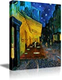 "Wall26 - Cafe Terrace at Night by Vincent Van Gogh - Oil Painting Reproduction on Canvas Prints Wall Art, Ready to Hang - 16"" x 20"""