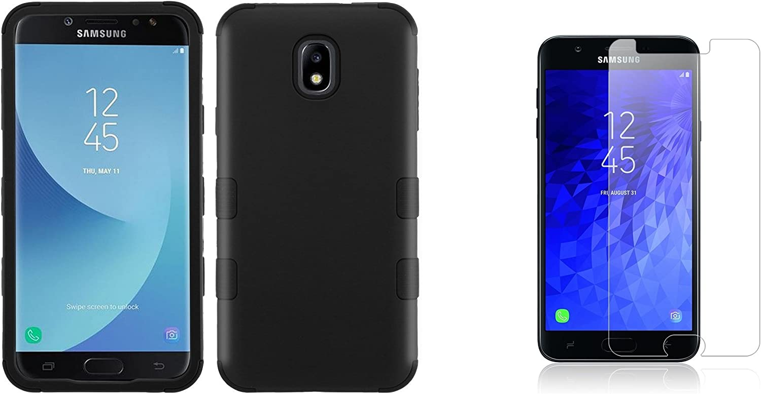Black Bemz Accessory Bundle Compatible with Samsung Galaxy J7 J737 - TUFF Military Grade Shockproof Case Tempered Glass Screen Protector and Atom Cloth J7 V 2nd Gen, Refine, Star, Crown