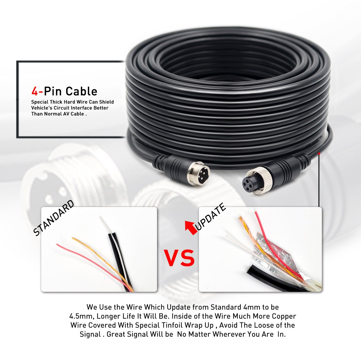 Backup Camera Cable Wire 34 Foot Extension Video Wiring Pickup Box Trailer For Heavy Vehicle Like Semi Truck Farm Tractor Rv 5th Wheel Erapta