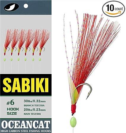 10 Packs size 10 sabiki bait rigs 6 hooks fish skin saltwater fishing lures